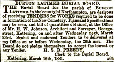 Ad to tender for new cemetery 1881