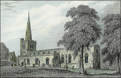 An engraving of St Mary's Church in 1847 before the Victorian 'restorations' and additions of the 1860's and 1880's