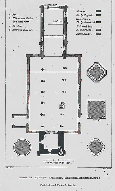Diagram of the floor plan of the church 1847
