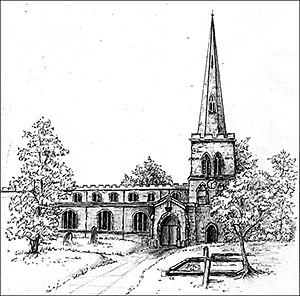 Line drawing of the church by Joan Campbell