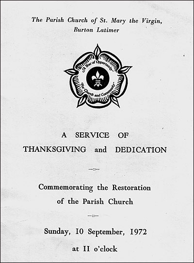 Service sheet of A Service of Thanksgiving and Dedication commemorating the Restoration of the Parish Church