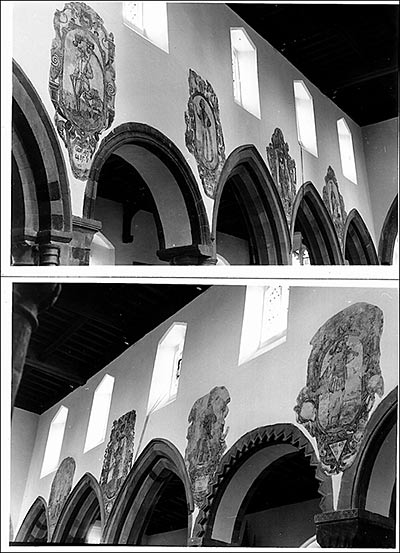 Photographs of the nave wall paintings above the pillars