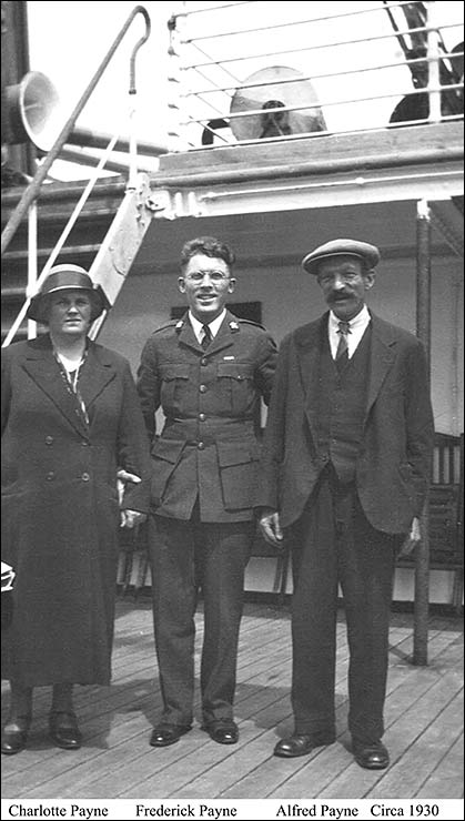 Photograph showing Charlotte Payne, Frederick Payne and Alfred Payne, circa 1930