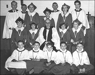 Choir in the late 1950's inside the Church Room
