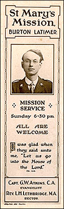 Mission Room Bookmark c 1930 showing Captain G W Atkins of the Church Army