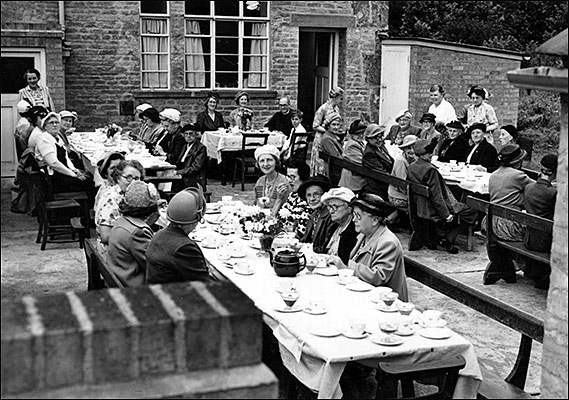 A Mother's Union tea party taking place in 1953