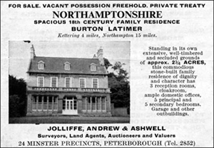 A 1967 'Country Life' advertisement for the sale of the Rectory.