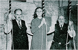 Photograph of bellringers showing three generations of the Saddington family in 1940