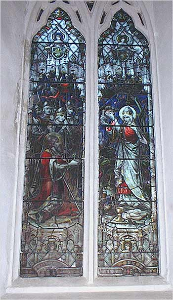 Photograph showing the stained glass window on the north side of the chancel