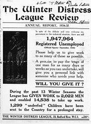 """A Real Effort to help the Unemployed"" A report booklet published by The Winter Distress League"