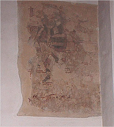 North aisle wall paintings showing the martyrdom of St Catherine