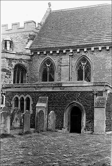 Photograph of the south of the church showing vestry door prior to the erection of the Chapter House