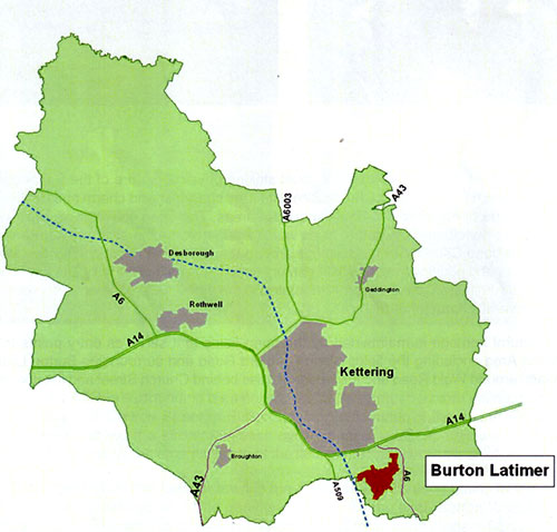 District map showing Burton Latimer