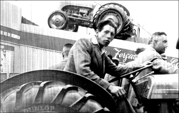Cyril Desborough getting the feel of a Ferguson tractor