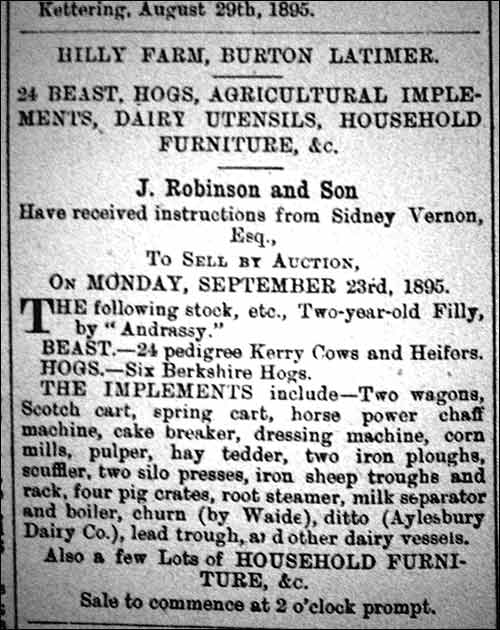 Notice of farm sale 1895