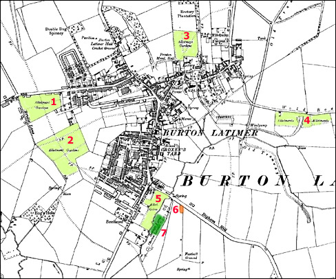 Ordnance Survey Map of the town in 1938. Light green areas show allotments then in use.  Small orange patch shows the small plot in use in the late 1940s.  Dark green area indicates the current location of the modern public allotments