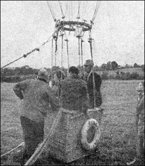 Dutch avaiators in their balloon after it landed at Burton Latimer in 1957
