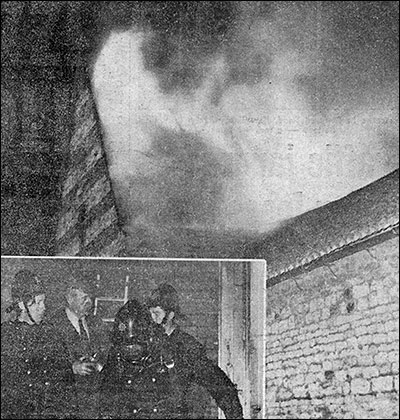 The blazing roof at the Burton fire and firemen emerging from the blackened building at Finedon.