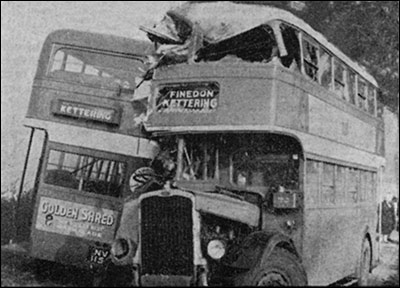 The aftermath of the collision of two double-decker buses which occurred i thick fog near Burton Latimer in September 1952