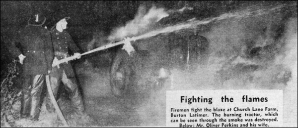 Firemen fight the flames at the staw-stack blaze at Church Lane farm in 1965