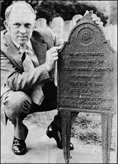 Brian Mutlow with Louisa Johnson's grave marker