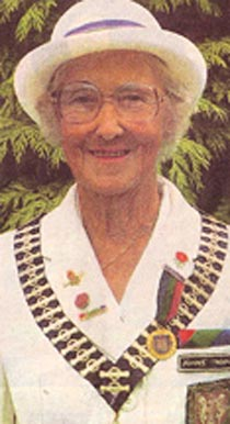 Margaret Atkinson as County Ladies Bowls President 1984