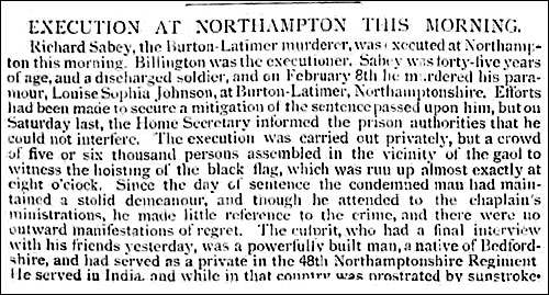 Pall Mall Gazette report on Sabey's execution