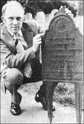Brian Mutlow with the broken grave marker