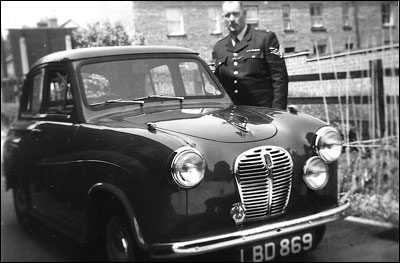 Sergeant George Thurlow with Burton's first police car - an Austin A35