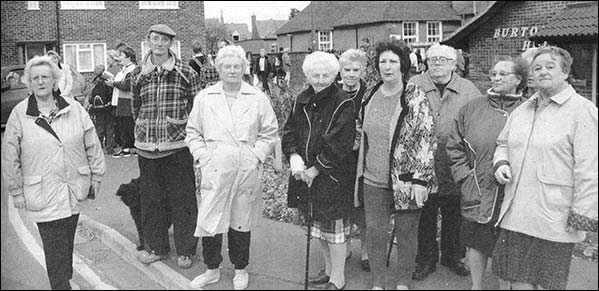 Photograph of Latimer Close residents protesting over school parking