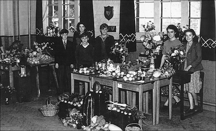 Burton Latimer Council School - Harvest Festival display - early 1950s