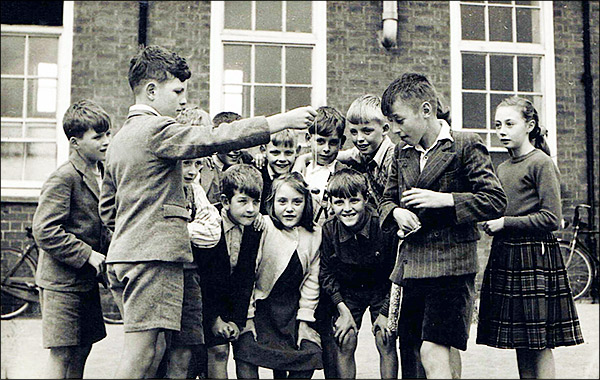 Conkers in the school yard in about 1950