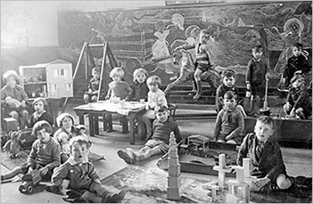 Photograph of Council School Infants at play in 1933