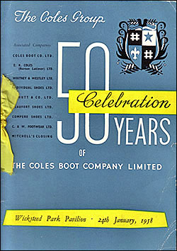 Programme of the 50th Anniversary of Coles Boot Co Dinner and Dance 1958