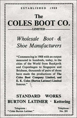 Notice showing the incorporation of E K Coles Ltd with Coles Boot Co