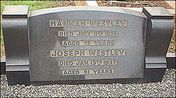 Memorial stone in Burton Latimer cemetery for Mr Joseph Westley and his wife, Hannah