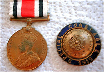 Joseph Westley's Special Constable Long Service Medal and badge