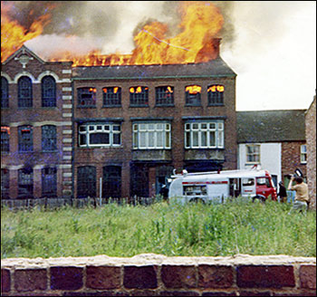 View of factory fire in 1969