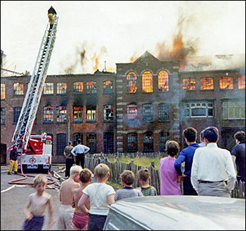 Vieew of factory fire in 1969