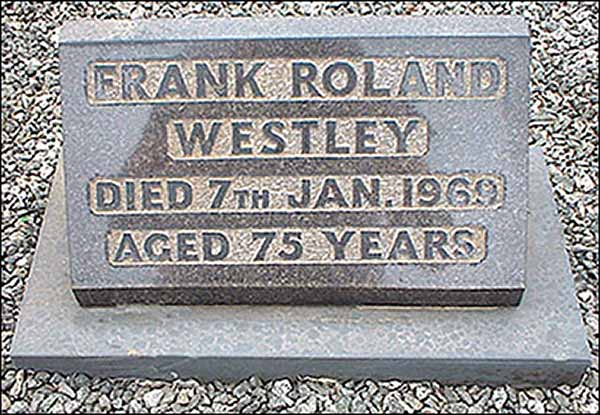 Memorial stone in Burton Latimer cemetery for Mr Frank Westley