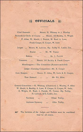 Programme for the Meat Tea and sports activities in 1911