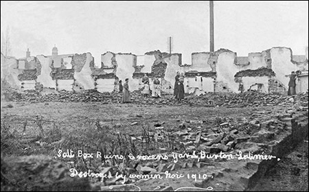 The aftermath of the destruction of the cottages in 1910