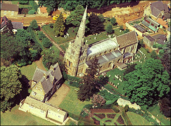 Manor House and Church in an aerial view taken in the 1960s