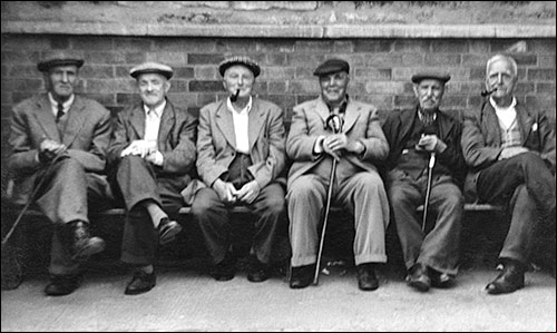 Albert Grainger and friends at the new seat in Kettering Road.