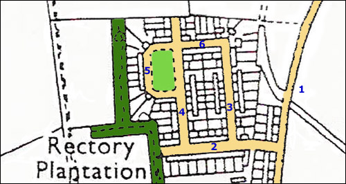A map of the Cranford Road estate(sometimes called the Spinney Road estate) which was built in the late 1940s