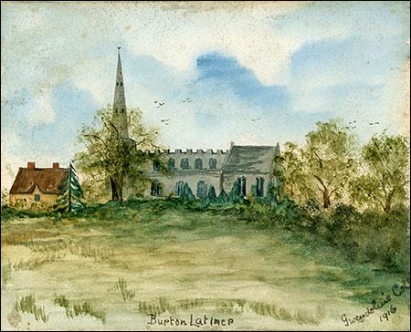 Painting of Burton Latimer Manor House and Church by Gwendoline De Crespigny 1916