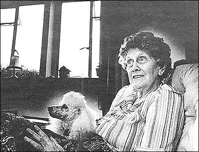 Photograph of Mrs Mills and her dog, Bobby