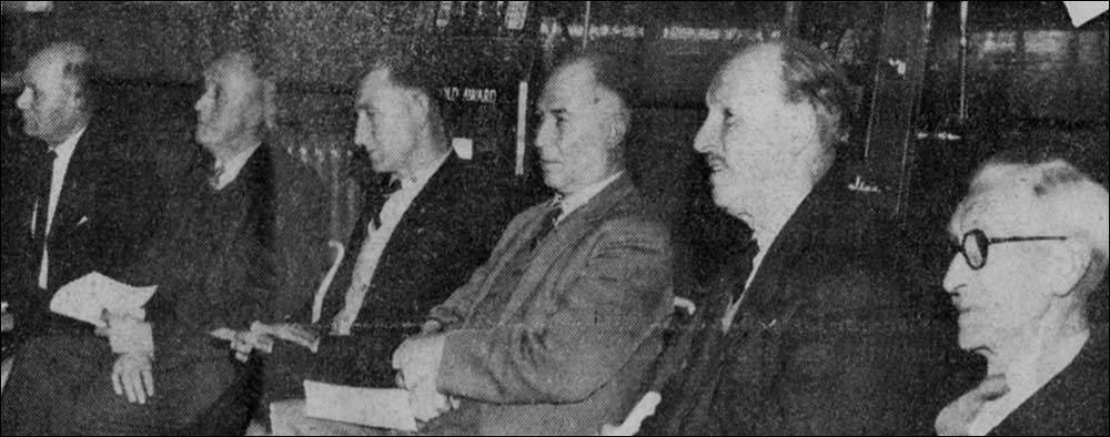 Chairman of Burton Latimer Urban Council, Mr A F Mutlow together with council members - Mr J Stokes, Mr F W Goodman, Mr F V Hendry, Mr G Ward, Mr L Patrick