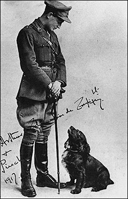 Lt Arthur  Champion de Crespigny with his favourite dog Pincher in 1917.