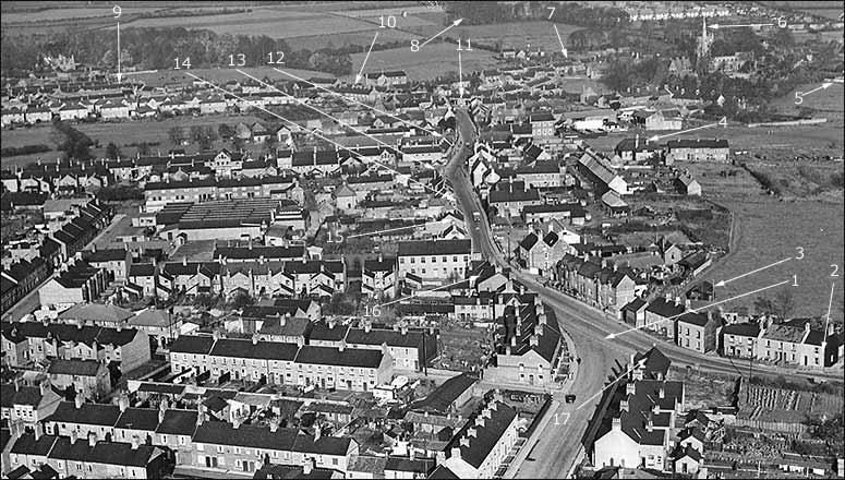 An early 1950s aerial view of Burton Latimer depicting Trevor Cooper's walk.
